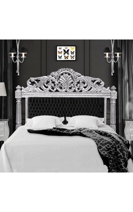 t te de lit baroque velours noir et bois argent. Black Bedroom Furniture Sets. Home Design Ideas