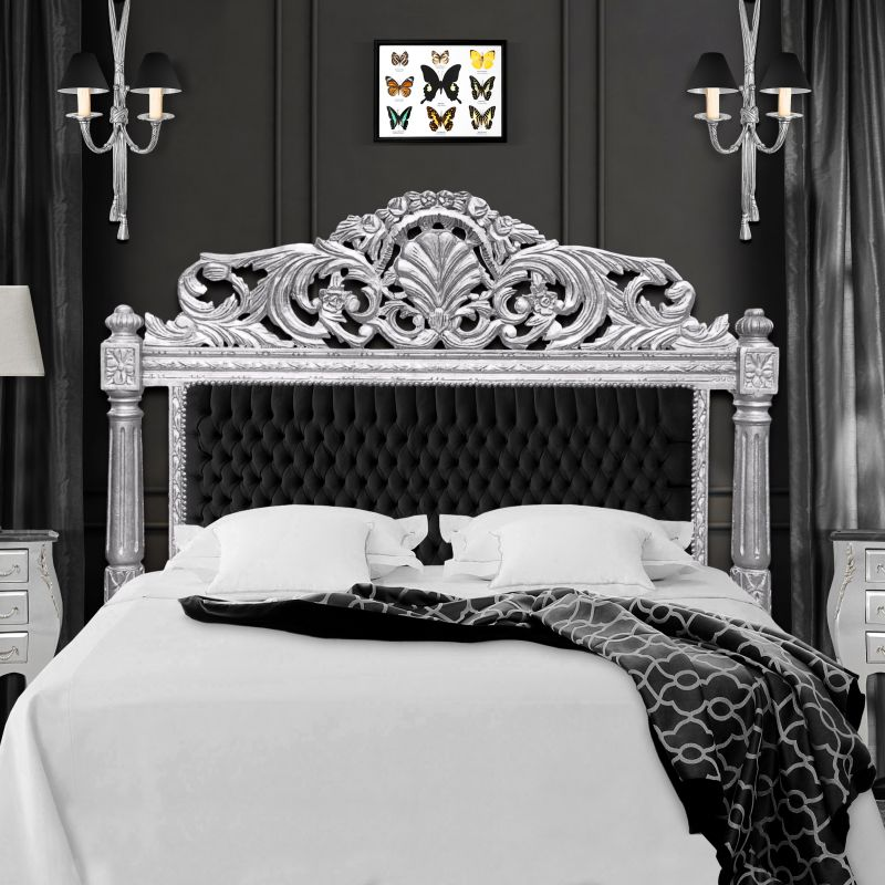 Can black baroque bed that