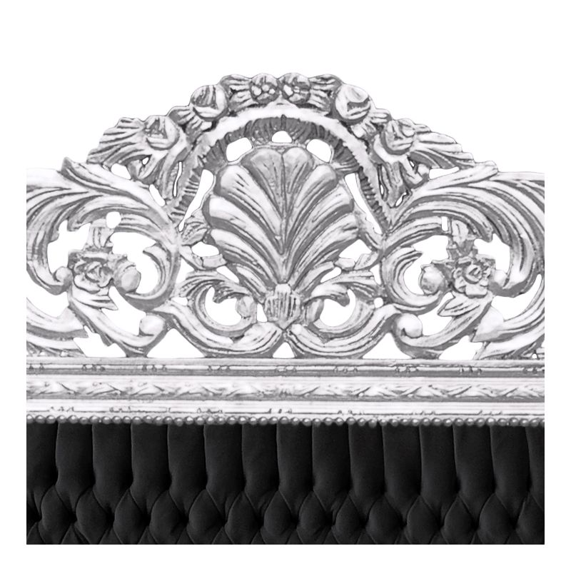 t te de lit baroque tissu velours noir et bois argent. Black Bedroom Furniture Sets. Home Design Ideas