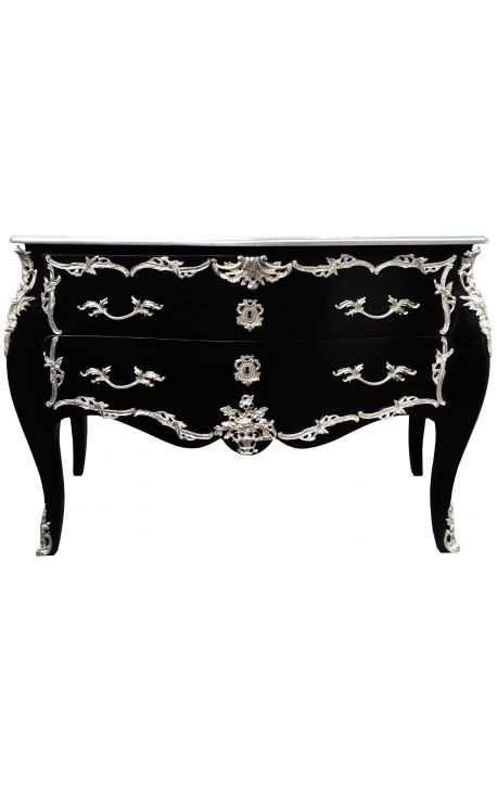 grande commode baroque de style louis xv noire avec bronzes argent s. Black Bedroom Furniture Sets. Home Design Ideas