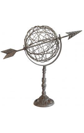 Girouette décorative à poser ou fixer, globe avec flèche en fer forgé