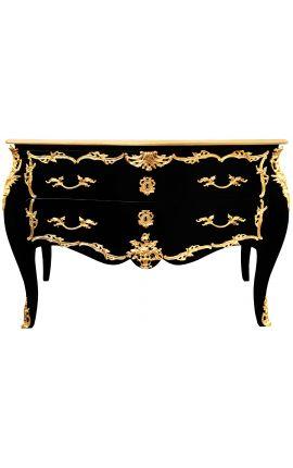 Grande commode baroque de style Louis XV noire, bronzes dorés