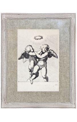 Cadre gris patiné à l'ancienne avec gravure couple d'ange sous une couronne de laurier