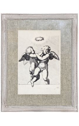 Grey patinated antiquated frame with engraving: Angel couple under a laurel wreath.