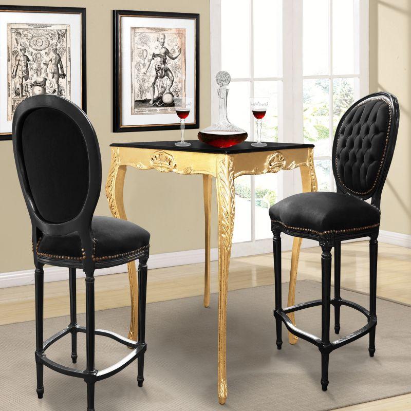 chaise de bar de style louis xvi avec tissu velours noir et bois noir. Black Bedroom Furniture Sets. Home Design Ideas