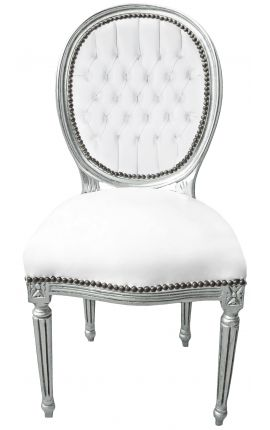 Louis XVI style chair white leatherette and silvered wood