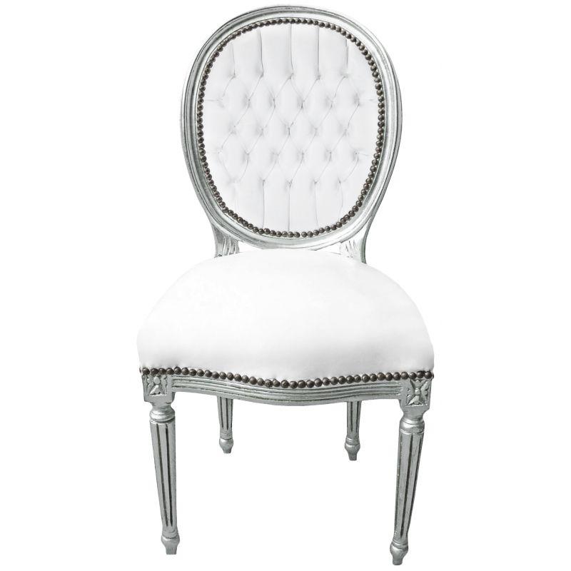 Chaise Baroque De Style Louis Xvi Simili Cuir Blanc Et Bois Argenté