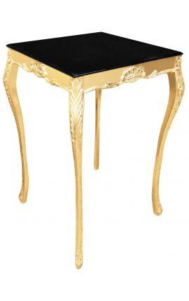 Table de bar baroque en bois doré avec plateau noir