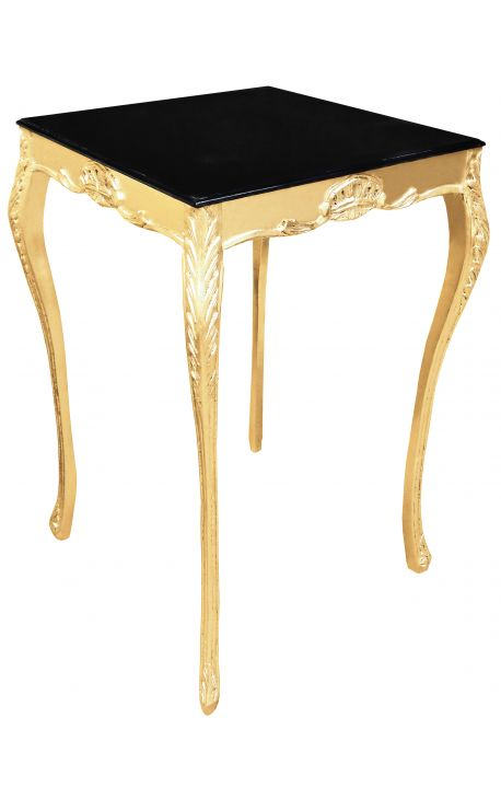 Square baroque bar table gilt wood with black top