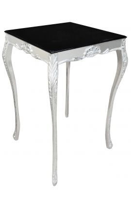 Square baroque bar table silver wood with black top