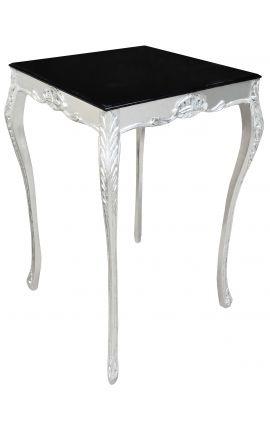 Table de bar baroque en bois argenté avec plateau noir