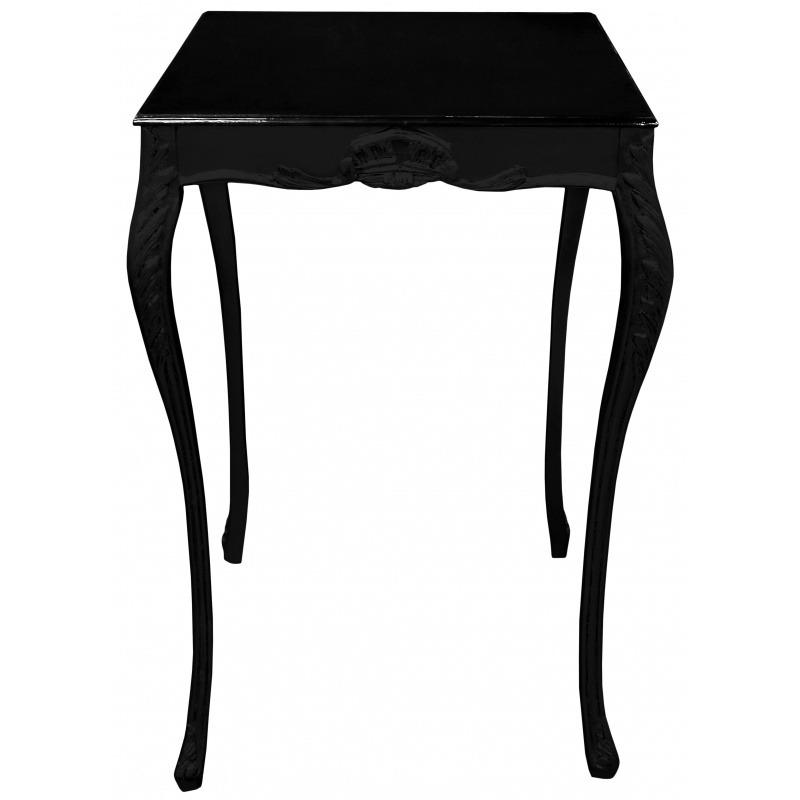 Table de bar baroque carr e bois laqu noir avec plateau for Table de bar noir