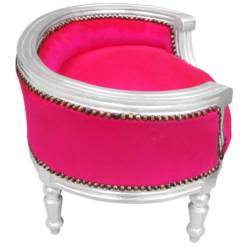 Baroque Sofa Bed For Dog Or Cat Fuchsia Velvet Fabric And