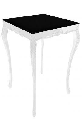 Table de bar baroque en bois laqué blanc avec plateau noir