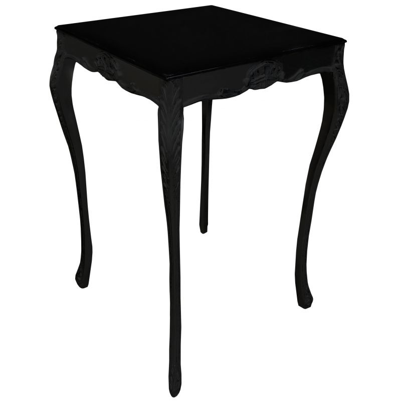 table de bar baroque carr e bois laqu noir avec plateau laqu noir. Black Bedroom Furniture Sets. Home Design Ideas