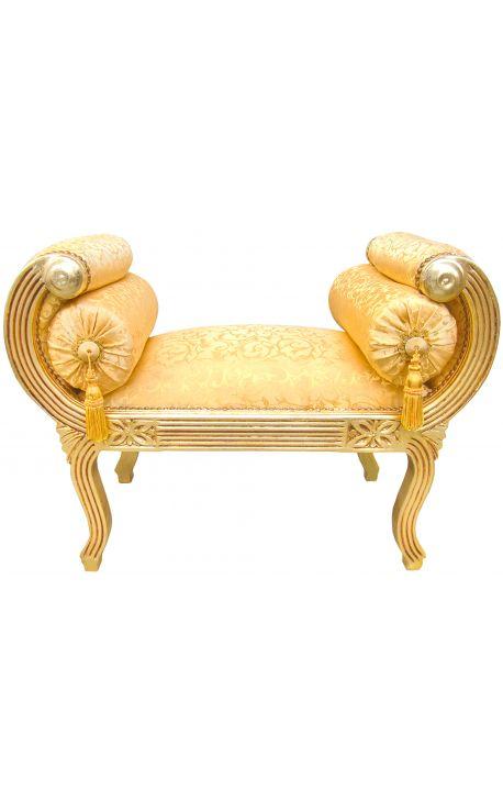 Banquette Romaine tissu satiné doré et bois doré