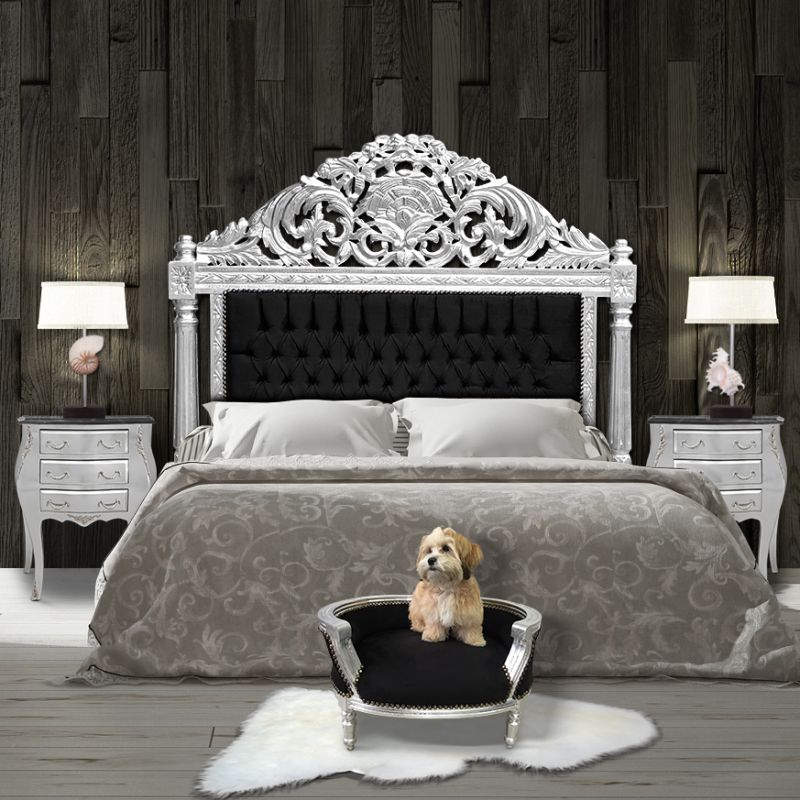 ... Baroque sofa bed for dog or cat black velvet and silver wood ... & Baroque sofa bed for dog or cat black and silver wood