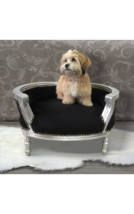 Baroque sofa bed for dog or cat black velvet and silver wood