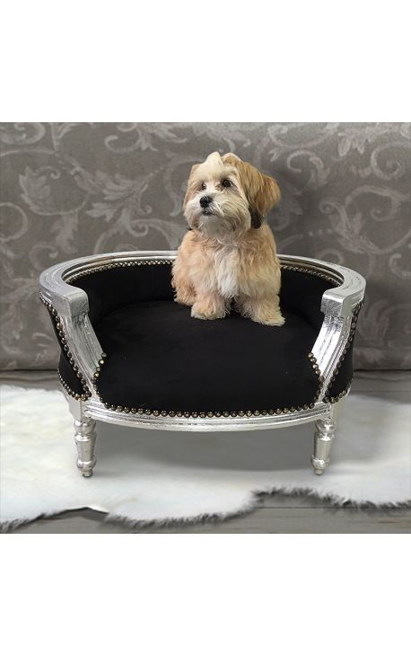 canap lit baroque pour chien ou chat velours noir et bois argent. Black Bedroom Furniture Sets. Home Design Ideas
