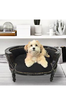 Canapé lit pour chien ou chat baroque velours noir et bois laqué noir