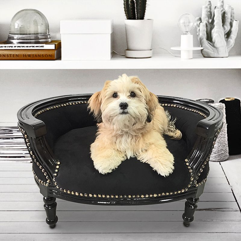 canap lit pour chien ou chat baroque velours noir et bois laqu noir. Black Bedroom Furniture Sets. Home Design Ideas