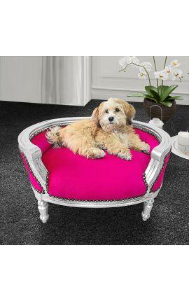 Canapé lit pour chien ou chat baroque velours fuchsia et bois argent