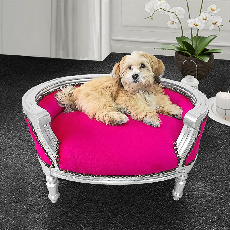 canap lit baroque pour chien ou chat tissu rose fuchsia bois argent. Black Bedroom Furniture Sets. Home Design Ideas