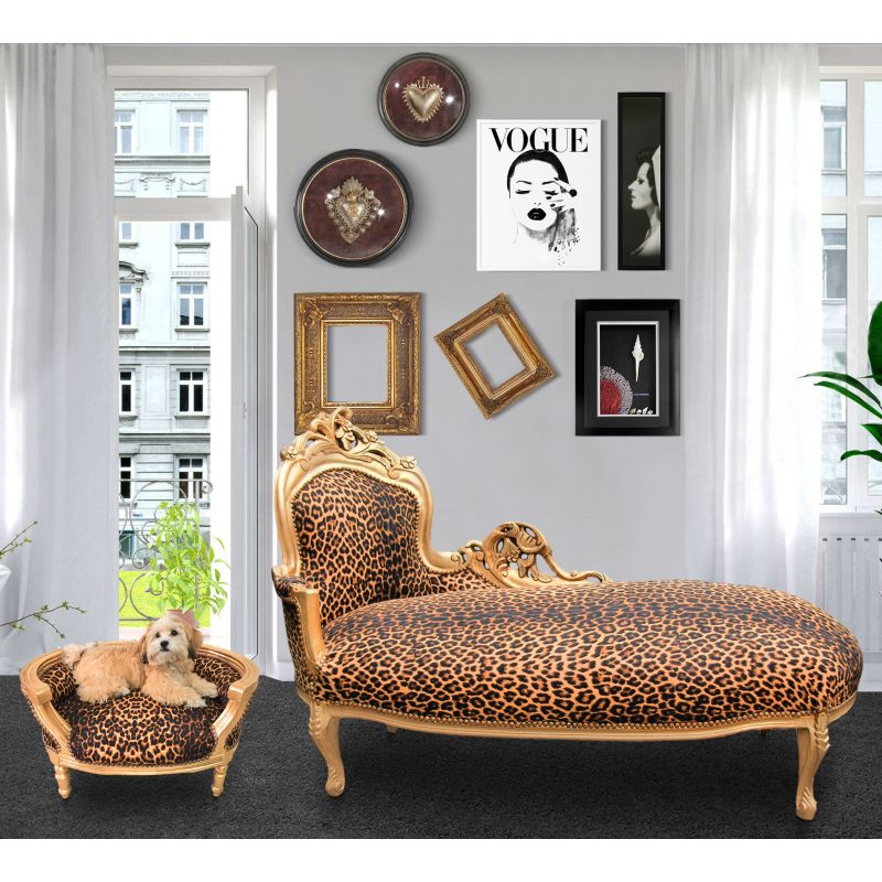 Baroque Sofa Bed For Dog Or Cat Leopard Fabric And Gold Wood