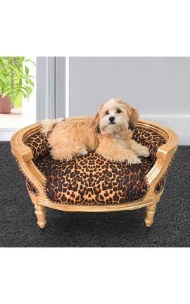 Canapé lit pour chien ou chat baroque tissu leopard et bois doré