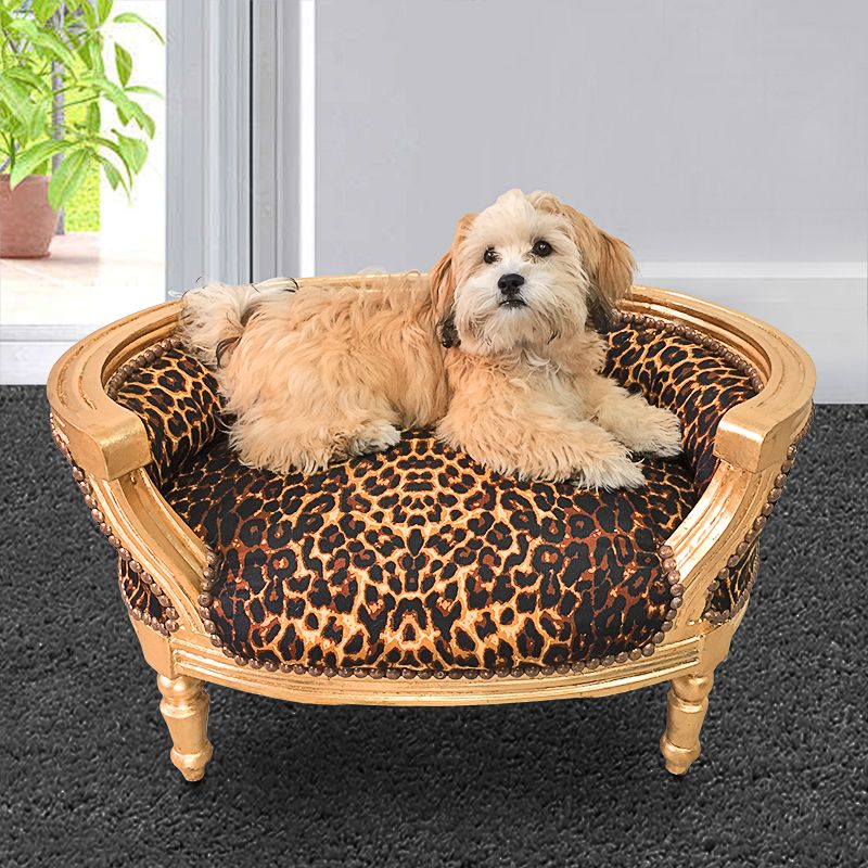 canap lit pour chien ou chat baroque tissu leopard et bois dor. Black Bedroom Furniture Sets. Home Design Ideas