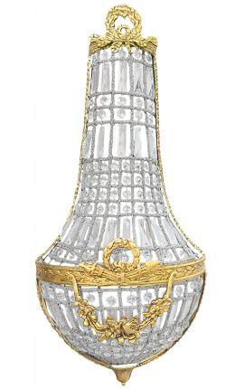 Très grande applique montgolfière à pampilles verre avec décorations en bronze