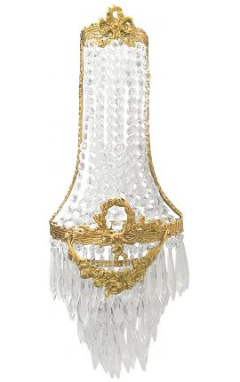 Large mongolfière wall light with pendants clear glass and gold bronze