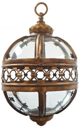 Round hall lantern patinated bronze 30 Cms
