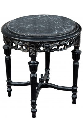 Round Louis XVI style black marble side table with glossy black wood