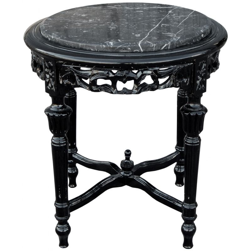 nice round black lacquered wood flower table louis xvi style black marble. Black Bedroom Furniture Sets. Home Design Ideas