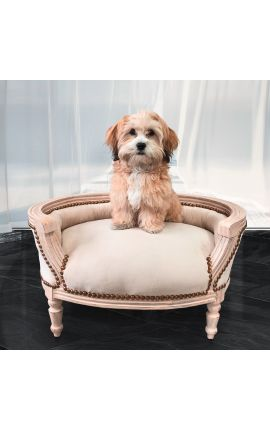 Baroque sofa bed for dog or cat beige velvet and beige patinated wood