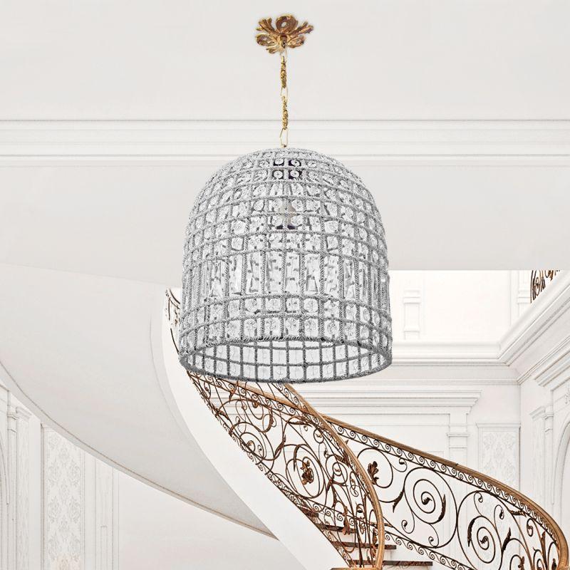 lustre cloche pampilles verre et bronze 35 cm. Black Bedroom Furniture Sets. Home Design Ideas