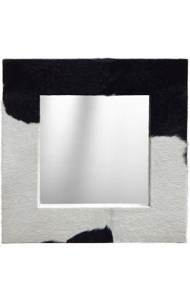 Grand miroir carré avec peau de vache véritable