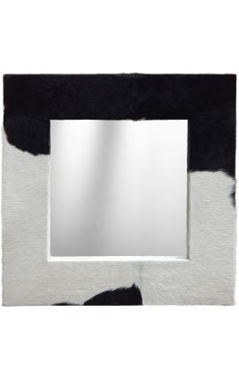 Large square mirror with genuine cowhide