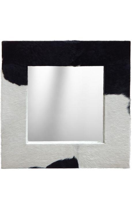 grand miroir carr avec peau de vache v ritable