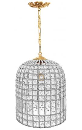 Chandelier bell shaped glass pendants and bronze 30 cm