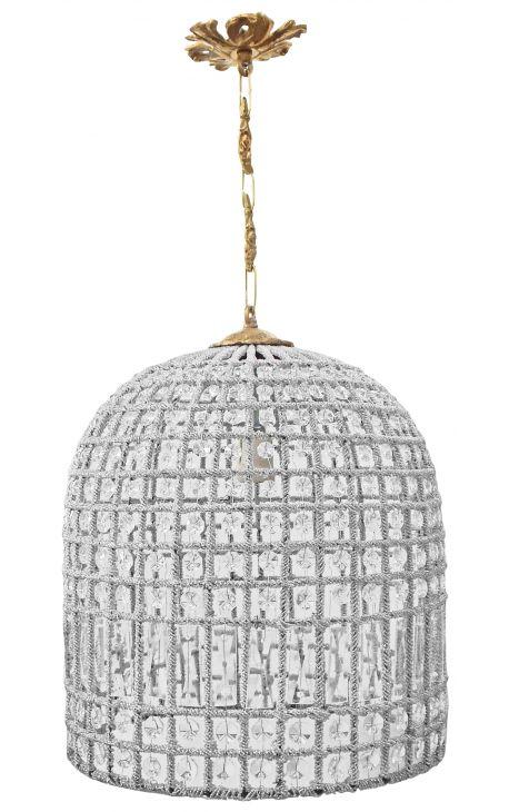 Lustre cloche à pampilles verre et bronze 40 cm
