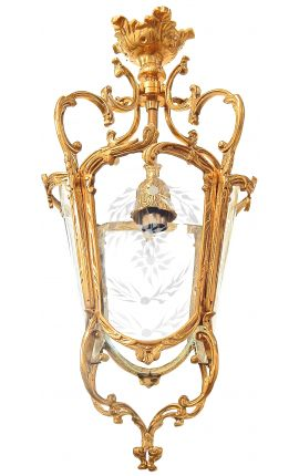 Large hall lantern 4 sides gilt bronze