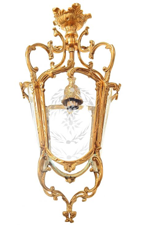 Grande lanterne de hall d'entrée 4 cotés en bronze doré