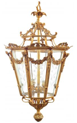 Grande lanterne octogonale de hall d'entrée en bronze doré