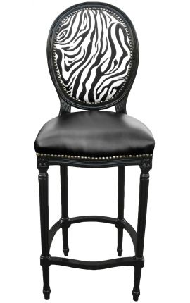 Bar chair Louis XVI style zebra and black false skin with black lacquered wood