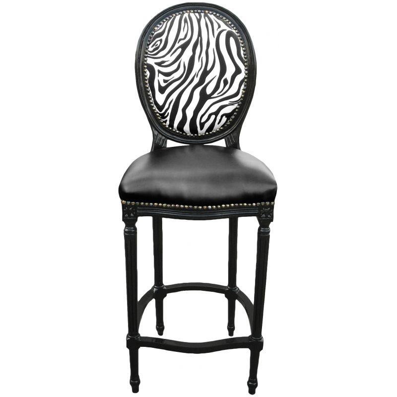 Chaise de bar de style louis xvi simili cuir noir dossier z bre et bois noir for Chaise de bar cuir