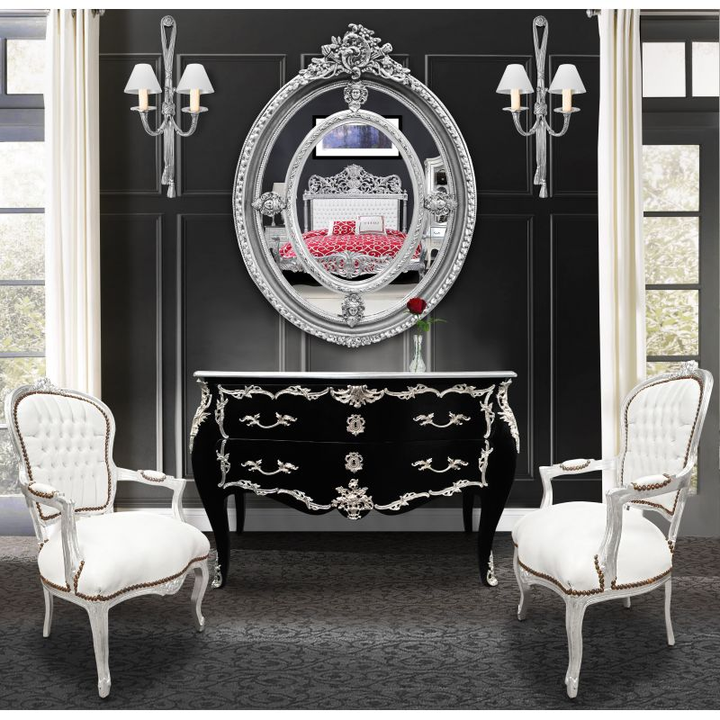 fauteuil baroque de style louis xv simili cuir blanc et bois argent. Black Bedroom Furniture Sets. Home Design Ideas
