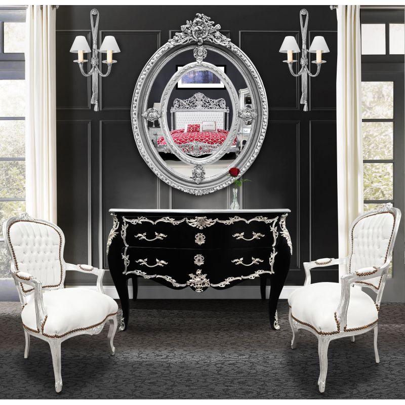 fauteuil baroque de style louis xv simili cuir blanc et bois argent. Black Bedroom Furniture Sets. Home Design Ideas