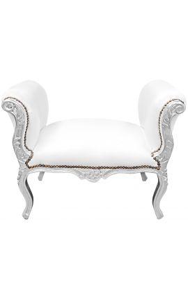 Banquette baroque de style Louis XV simili cuir blanc et bois argent